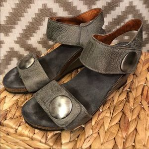 Taos Carousel Gray Cork Wedge Comfort Sandals